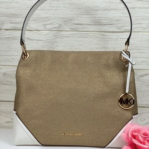 🌸Michael Kors Nicole Shoulder Bag Gold/White